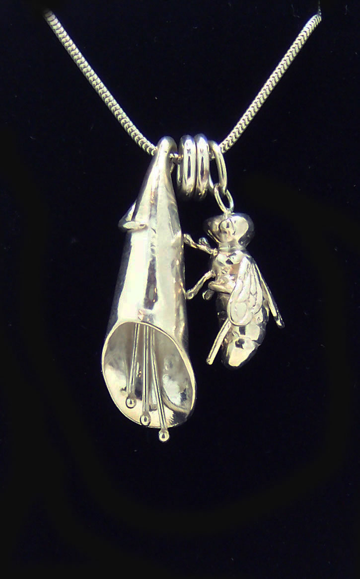 Silver Foxglove and Bee Necklace